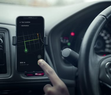 Gps navigation system on a phone in a self-driving car